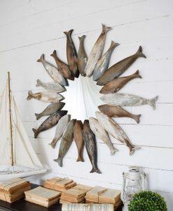 specchio rotondo con pesci legno effettp usurato anticato orchidea milano
