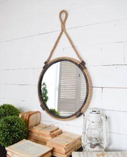 specchio rotondo da parete ferro e corda orchidea milano