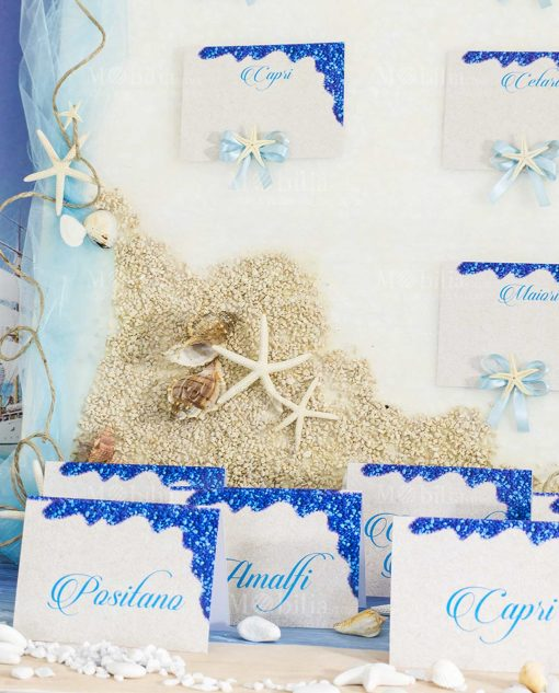 tableau mariage tema mare con conchiglie e stelle marine