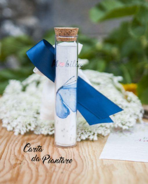 tubicino con carta da piantare farfalla azzurra