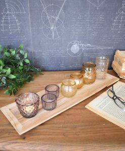 vassoio legno set 7 portacandele vetro orchidea milano