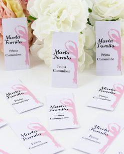 bigliettino bomboniera bianco con ballerina rosa