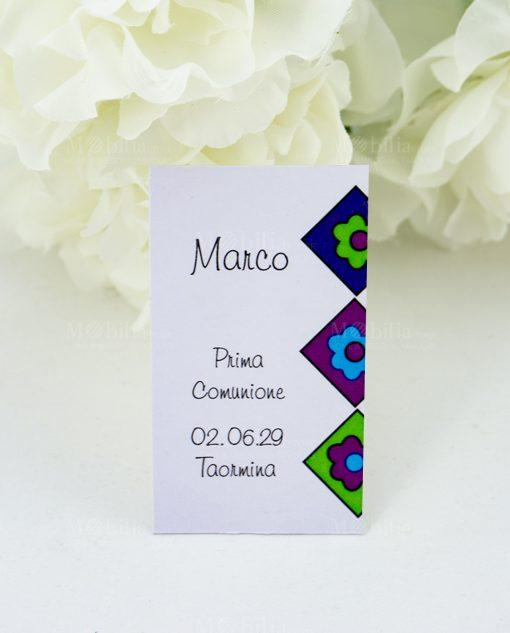 bigliettino bomboniera bianco decoro floreale blu viola e verde