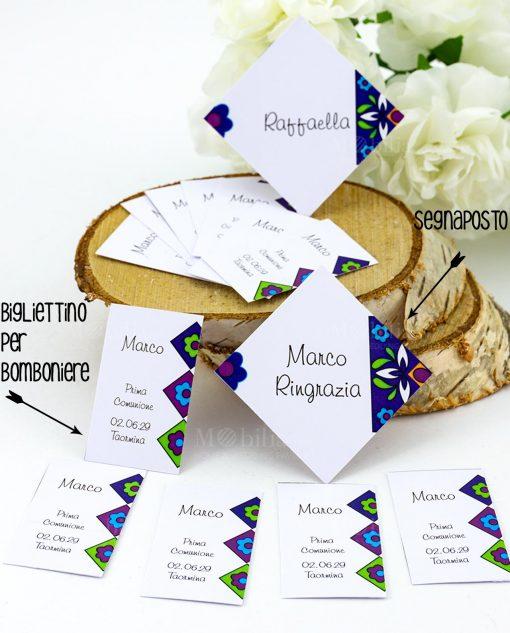 bigliettino bomboniera e segnaposto bianco cartoncino decoro fiori blu viola verde