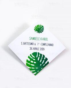 bigliettino cerimonia bianco con foglia