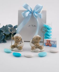 bomboniera memoclip orsetto posizioni assortiti bag con fiocco azzurro