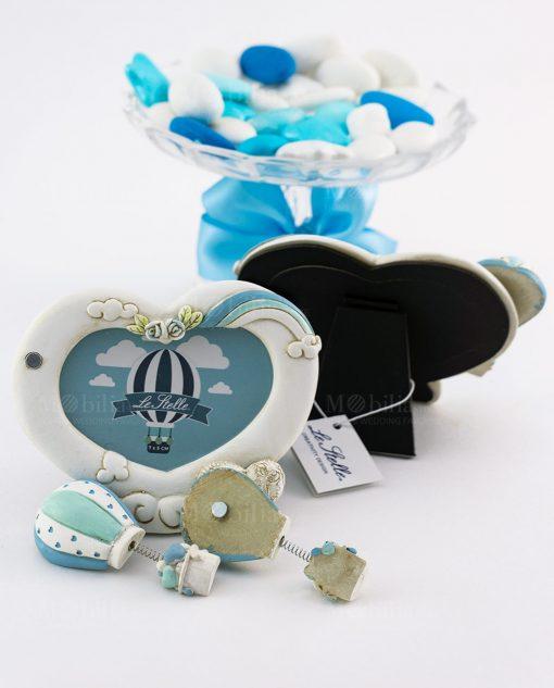 portafoto cuore con rose magnete mongolfiera azzurra decori assortiti avanti e retro