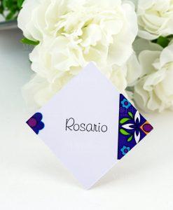 segnaposto cartoncino decoro floreale blu
