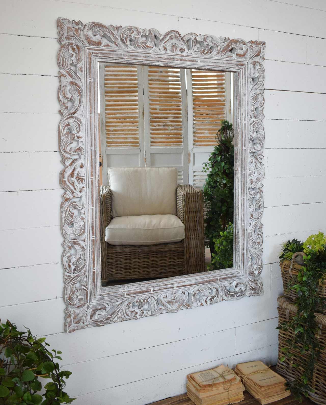 Specchio da parete legno white antique