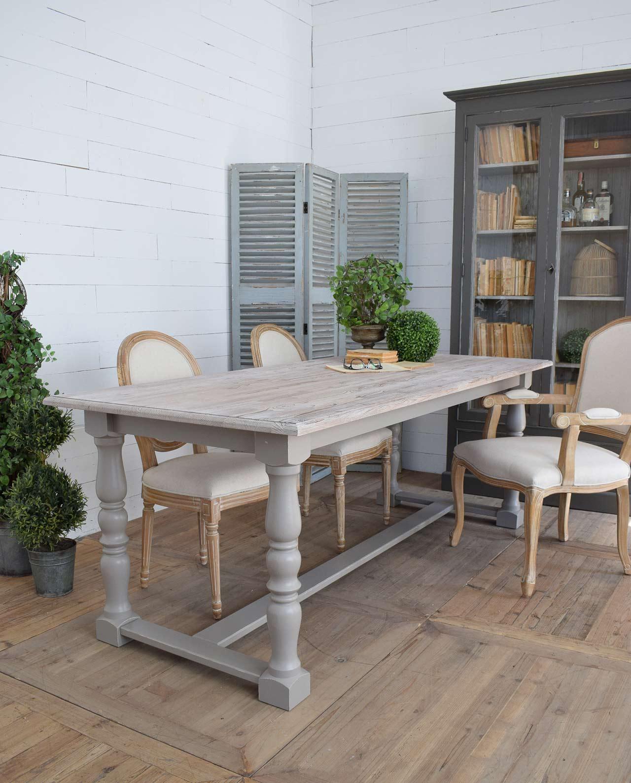 Tavolo da pranzo legno pino massello tortora anticato