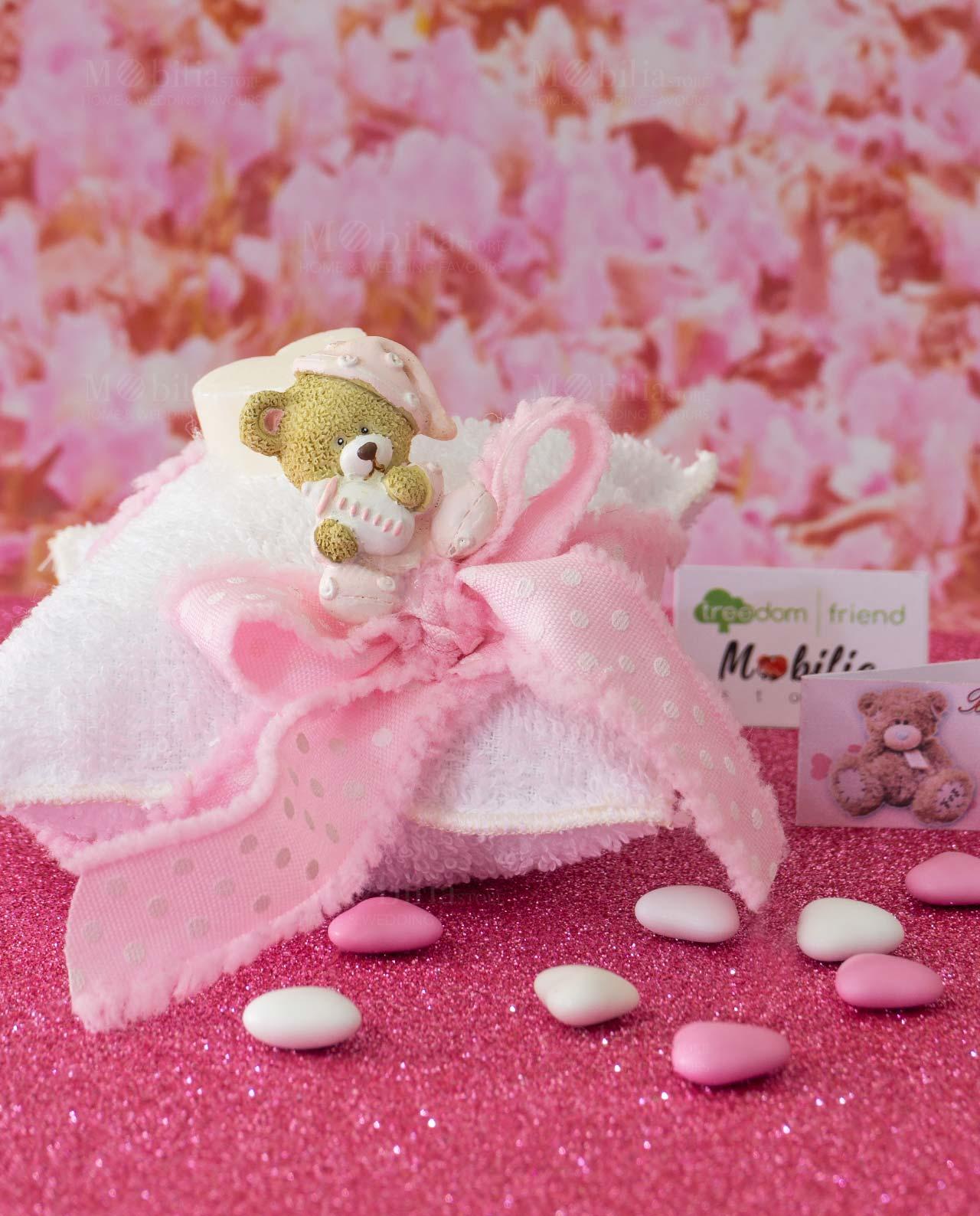 Favoloso Bomboniera orsetto rosa con saponetta profumata su spugna AZ18