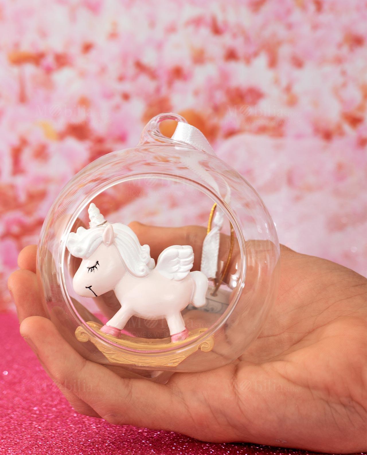 Assortito in 2 Varianti Battesimo Femminuccia bomboniere Nascita Ingrosso e Risparmio Palla di Neve in Vetro con Unicorno Rosa in Resina e Arcobaleno Senza confezionamento