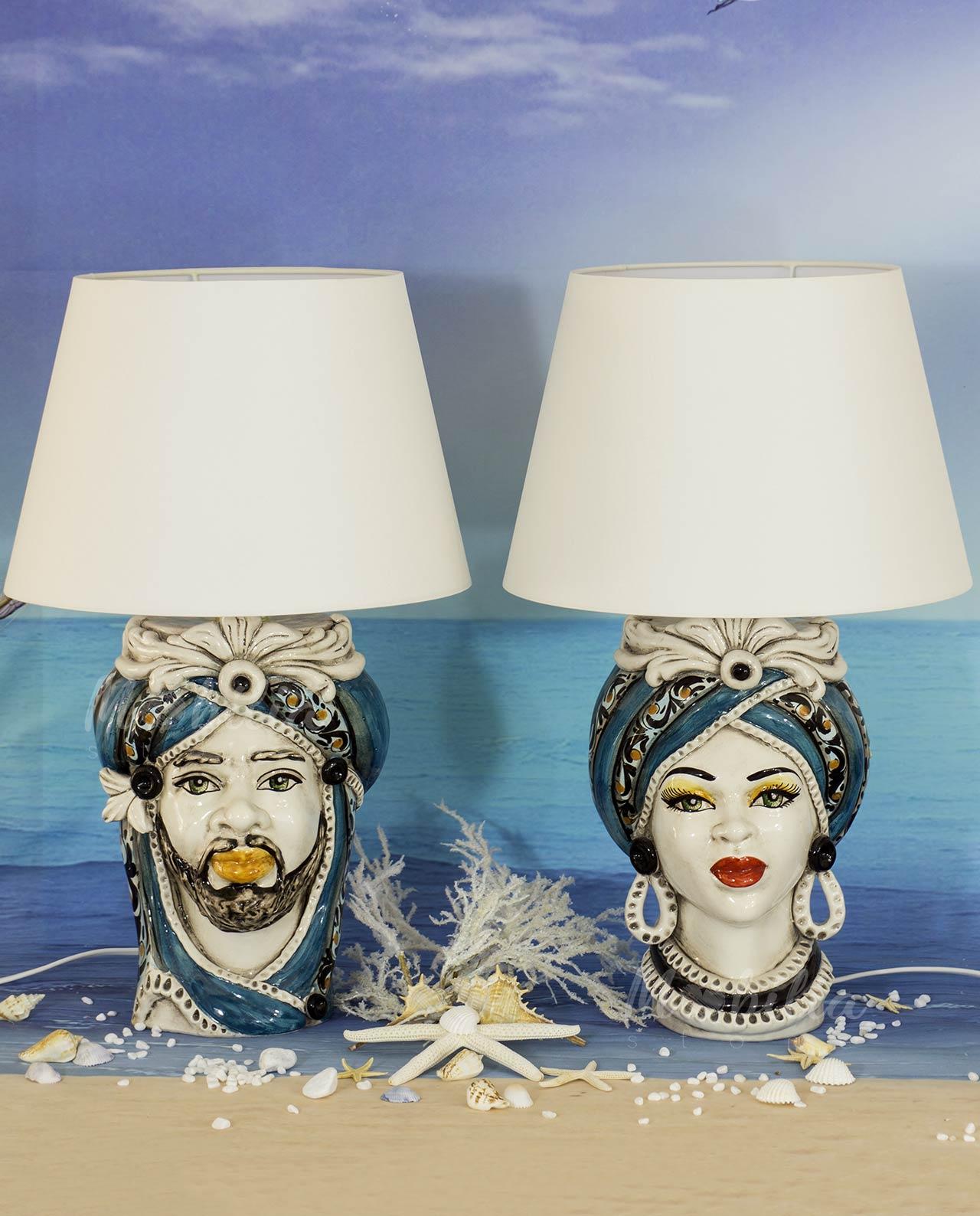 Lampada Testa Di Moro In Ceramica Di Caltagirone Blu Mobilia Store Home Favours